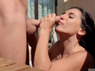 Quickie in terrace – Danika Mori rides a huge dick and squirts!
