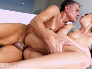 Hot Blonde Soaked In Squirt, Saliva & Oil Then Drilled In All Holes